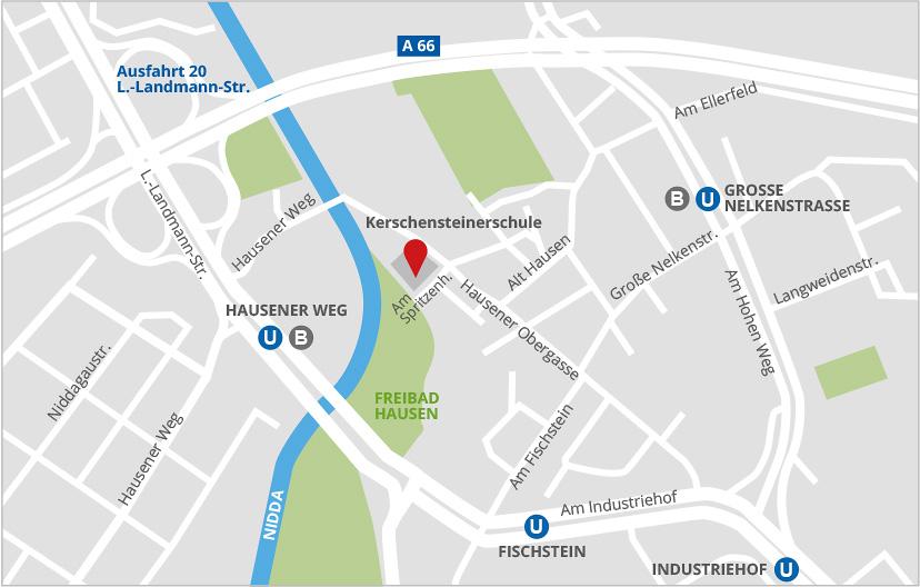 Lageplan Kerschensteinerschule Frankfurt Hausen